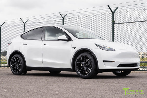 Pearl White Tesla Model Y with 20 inch TSS Flow Forged Wheels in Gloss Black by T Sportline 4