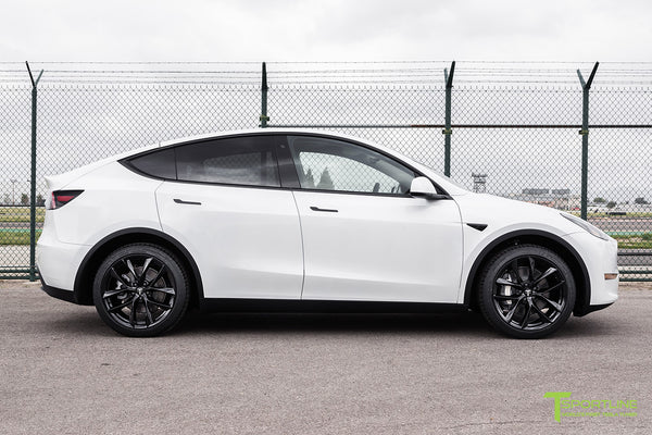 Pearl White Tesla Model Y with 20 inch TSS Flow Forged Wheels in Gloss Black by T Sportline 3