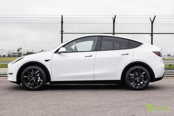 Pearl White Tesla Model Y with 20 inch TSS Flow Forged Wheels in Matte Black by T Sportline 3