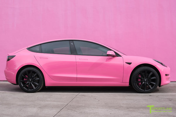 Gloss Hot Pink Tesla Model 3 with Matte Black 19 inch TST Turbine Style Wheels by T Sportline 3