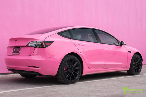 Gloss Hot Pink Tesla Model 3 with Matte Black 19 inch TST Turbine Style Wheels by T Sportline 2