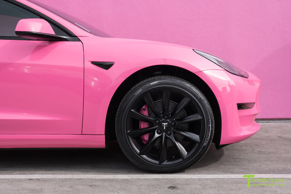 Gloss Hot Pink Tesla Model 3 with Matte Black 19 inch TST Turbine Style Wheels by T Sportline 1