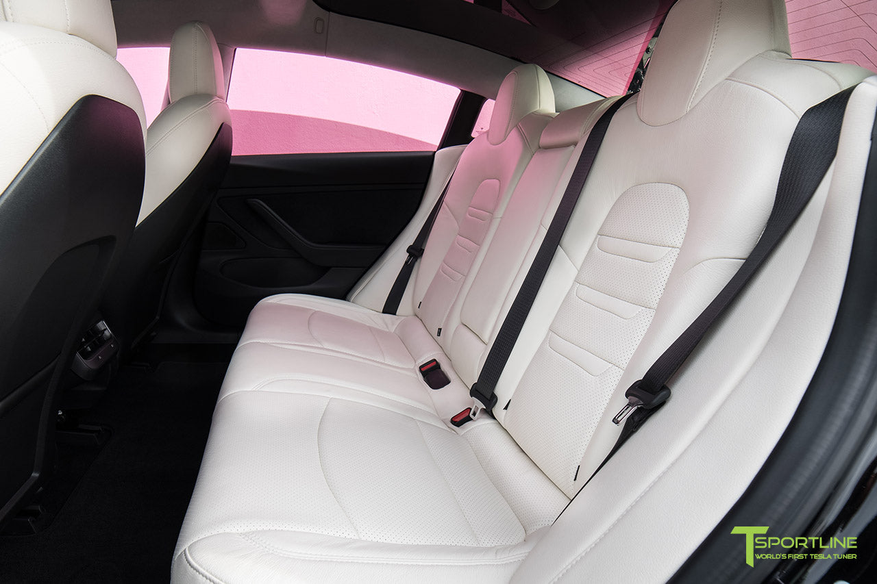 Project Pinky - Hot Pink Tesla Model 3 with Custom White Interior - Perforated Insignia, Matte Carbon Fiber Dashboard - Dash Panel Trim by T Sportline 3