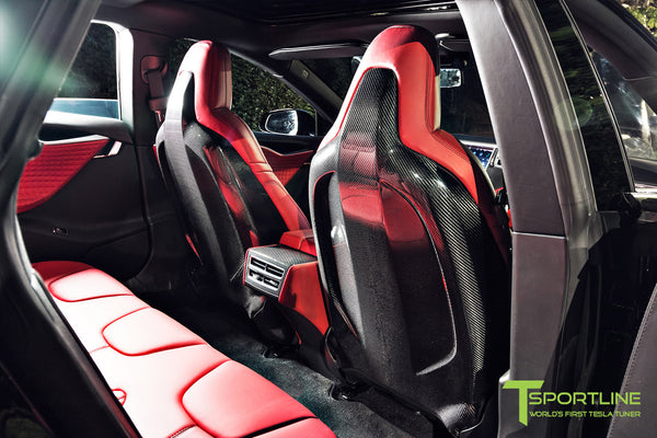Project Nero Rosso - Model S (2016 Facelift) - Custom Rolls Royce Red Interior - Gloss Carbon Fiber Steering Wheel by T Sportline 3