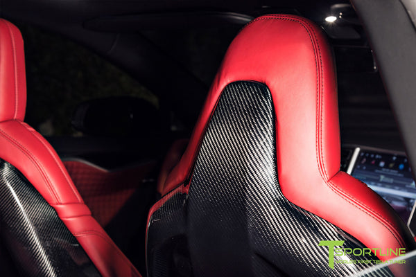 Project Nero Rosso - Model S (2016 Facelift) - Custom Rolls Royce Red Interior - Gloss Carbon Fiber Steering Wheel by T Sportline 1