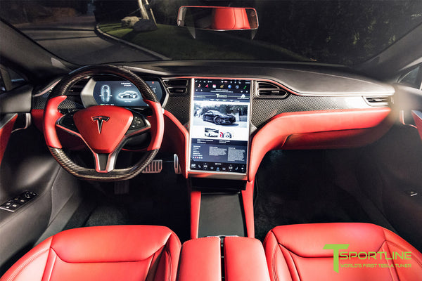 Project Nero Rosso - Model S (2016 Facelift) - Custom Rolls Royce Red Interior - Gloss Carbon Fiber Steering Wheel by T Sportline 9