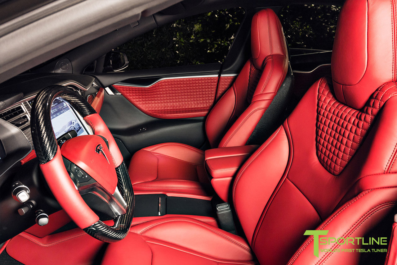 Project Nero Rosso - Model S (2016 Facelift) - Custom Rolls Royce Red Interior - Gloss Carbon Fiber Steering Wheel by T Sportline 8