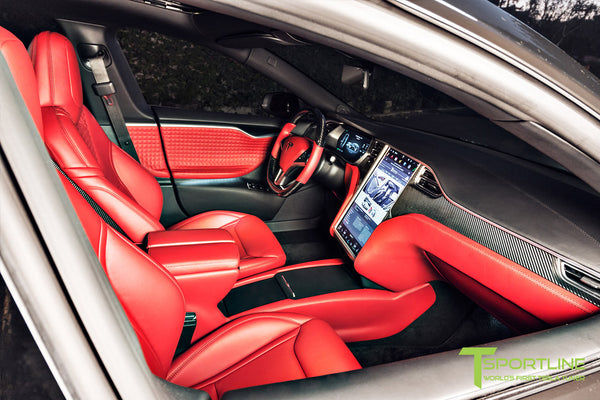 Project Nero Rosso - Model S (2016 Facelift) - Custom Rolls Royce Red Interior - Gloss Carbon Fiber Steering Wheel by T Sportline 7