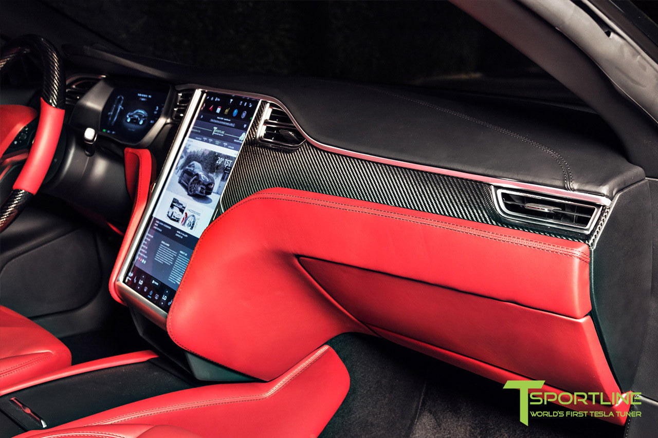 Project Nero Rosso - Model S (2016 Facelift) - Custom Rolls Royce Red Interior - Gloss Carbon Fiber Steering Wheel by T Sportline 6