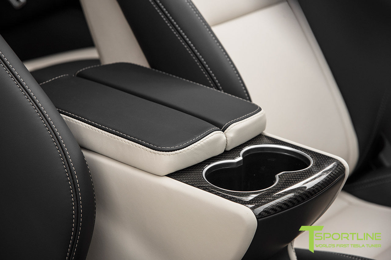 Project Panda - Model S (2016 Facelift) - Custom Bentley Linen and Ferrari Black Interior - Gloss Carbon Fiber Trim by T Sportline 10