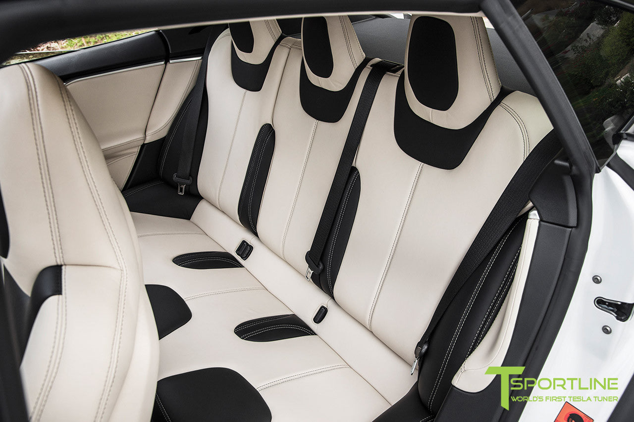 Project Panda - Model S (2016 Facelift) - Custom Bentley Linen and Ferrari Black Interior - Gloss Carbon Fiber Trim by T Sportline 6