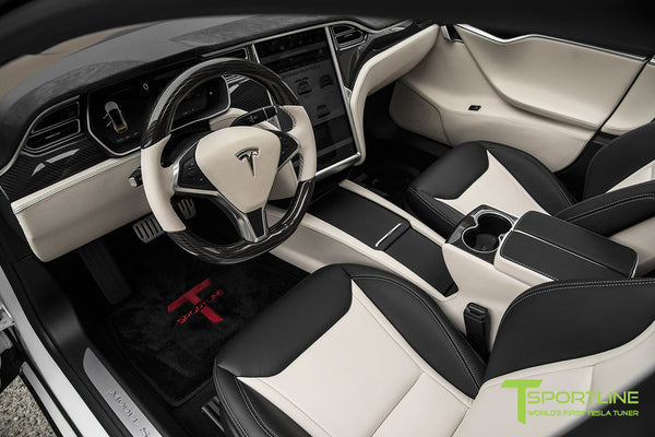 Project Panda - Model S (2016 Facelift) - Custom Bentley Linen and Ferrari Black Interior - Gloss Carbon Fiber Trim by T Sportline 15