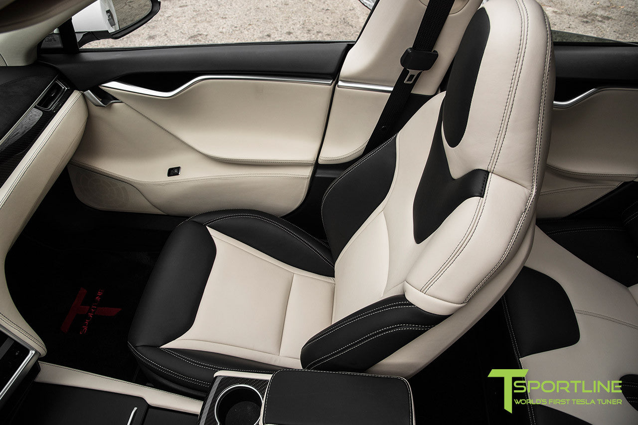 Project Panda - 2016 Tesla Model S P90D Ludicrous - Custom Bentley Linen & Ferrari Black Interior 15