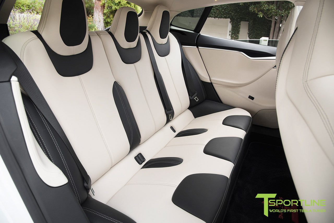 Project Panda - Model S (2016 Facelift) - Custom Bentley Linen and Ferrari Black Interior - Gloss Carbon Fiber Trim by T Sportline 4