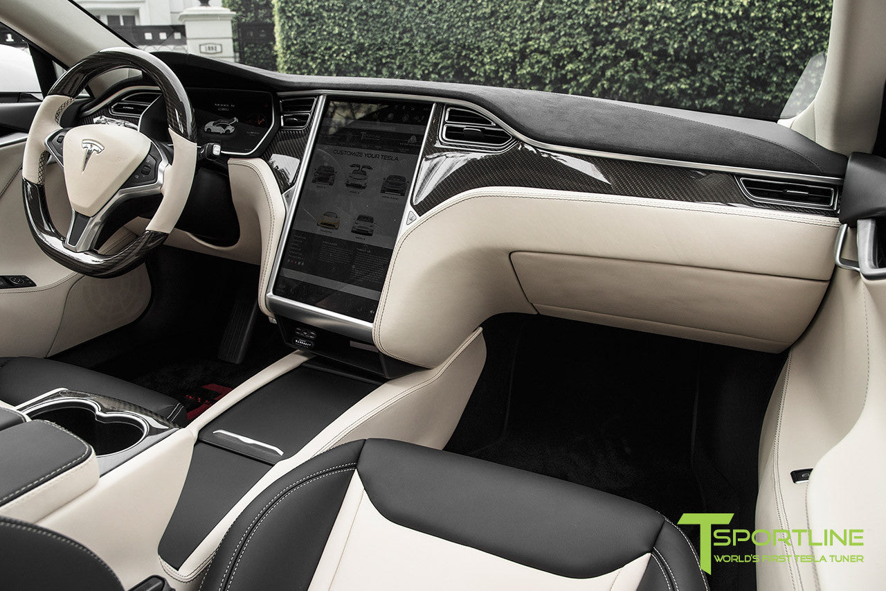 Project Panda - Model S (2016 Facelift) - Custom Bentley Linen and Ferrari Black Interior - Gloss Carbon Fiber Trim by T Sportline 14