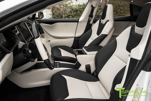 Project Panda - Model S (2016 Facelift) - Custom Bentley Linen and Ferrari Black Interior - Gloss Carbon Fiber Trim by T Sportline 13