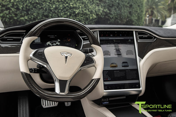 Project Panda - Model S (2016 Facelift) - Custom Bentley Linen and Ferrari Black Interior - Gloss Carbon Fiber Trim by T Sportline 12