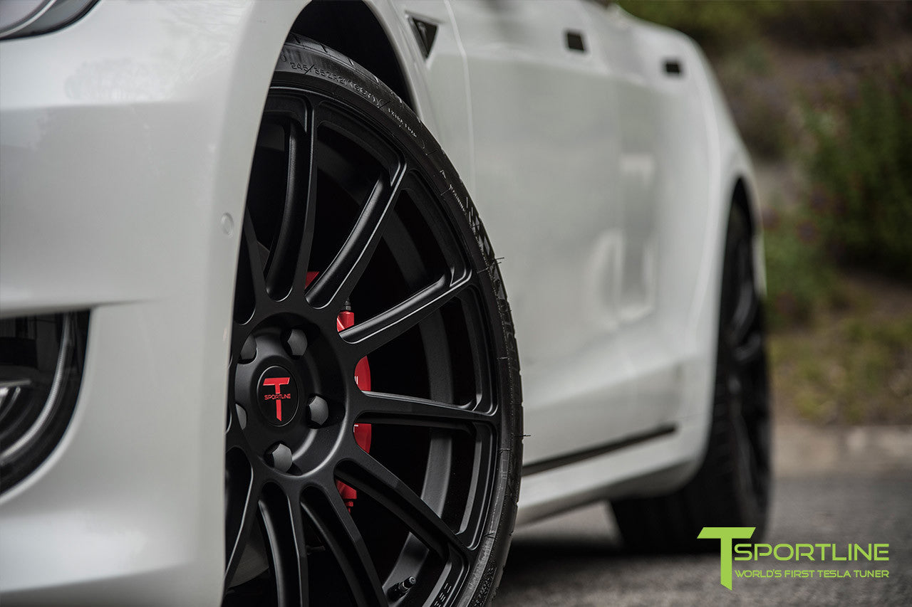 Project Panda - 2016 Tesla Model S P90D Ludicrous - Custom Bentley Linen & Ferrari Black Interior - TS112 21 Inch Forged Wheels in Matte Black 9