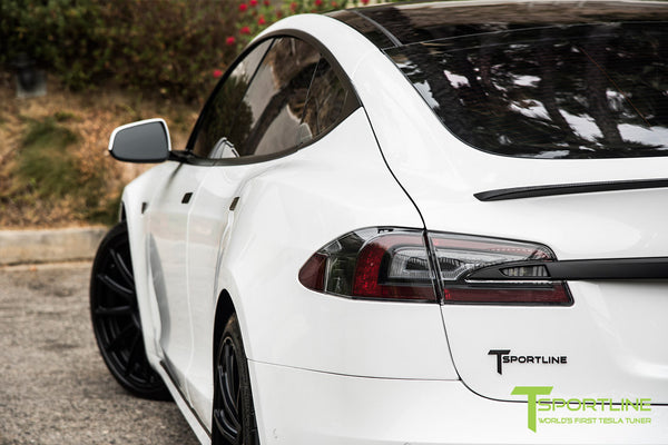 Project Panda - 2016 Tesla Model S P90D Ludicrous - Custom Bentley Linen & Ferrari Black Interior - TS112 21 Inch Forged Wheels in Matte Black 5