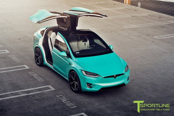 Project Tifany X - 2016 Tesla Model X P90D Ludicrous - White Interior - 22 inch MX5 Forged Wheels - Wrapped Exterior - Custom Brake Color 5