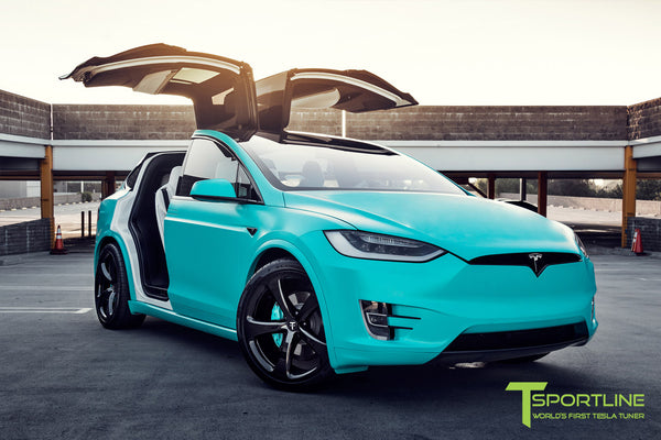 Project Tifany X - 2016 Tesla Model X P90D Ludicrous - White Interior - 22 inch MX5 Forged Wheels - Wrapped Exterior - Custom Brake Color 3