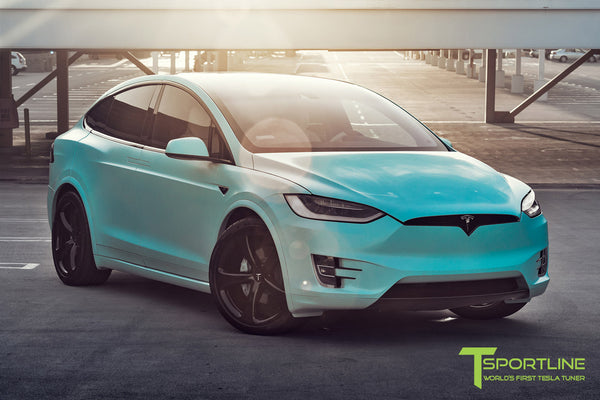 Project Tifany X - 2016 Tesla Model X P90D Ludicrous - White Interior - 22 inch MX5 Forged Wheels - Wrapped Exterior - Custom Brake Color 2