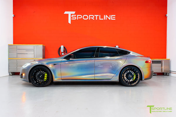 Gloss Psychedelic Flip Tesla Model S 2.0 with 21 inch TS118 Forged Wheels in Gloss Black by T Sportline 2