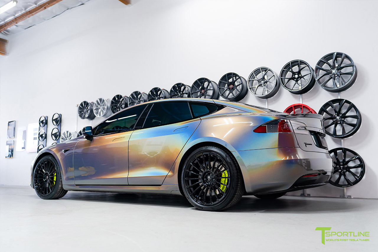 Gloss Psychedelic Flip Tesla Model S 2.0 with 21 inch TS118 Forged Wheels in Gloss Black by T Sportline 3