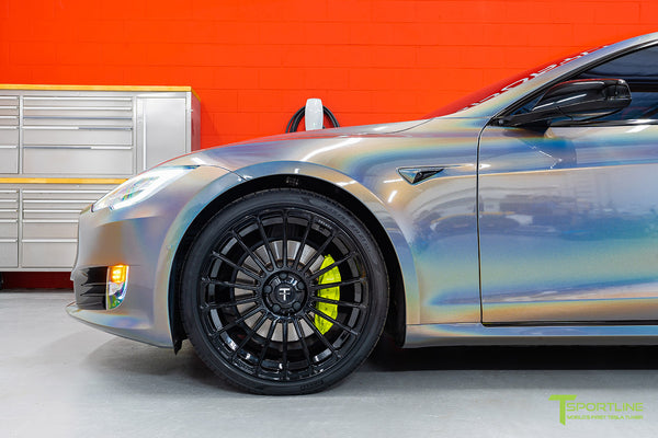 Gloss Psychedelic Flip Tesla Model S 2.0 with 21 inch TS118 Forged Wheels in Gloss Black by T Sportline 4