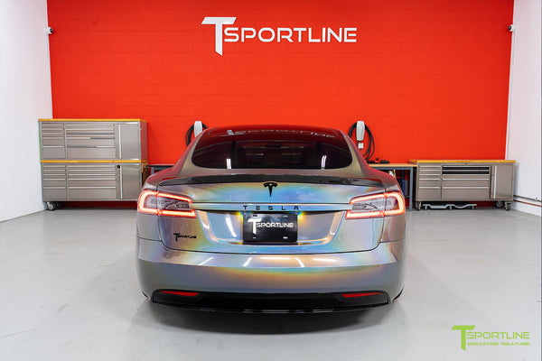Gloss Psychedelic Flip Tesla Model S 2.0 with Carbon Fiber Trunk Wing by T Sportline 3