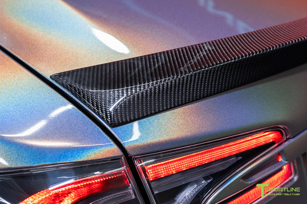 Gloss Psychedelic Flip Tesla Model S 2.0 with Carbon Fiber Trunk Wing by T Sportline 2