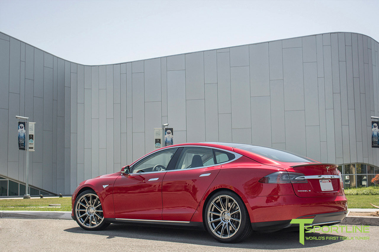 Red Multi-Coat Tesla Model S 1.0 with Hyper Black 21 inch TS112 Forged Wheels