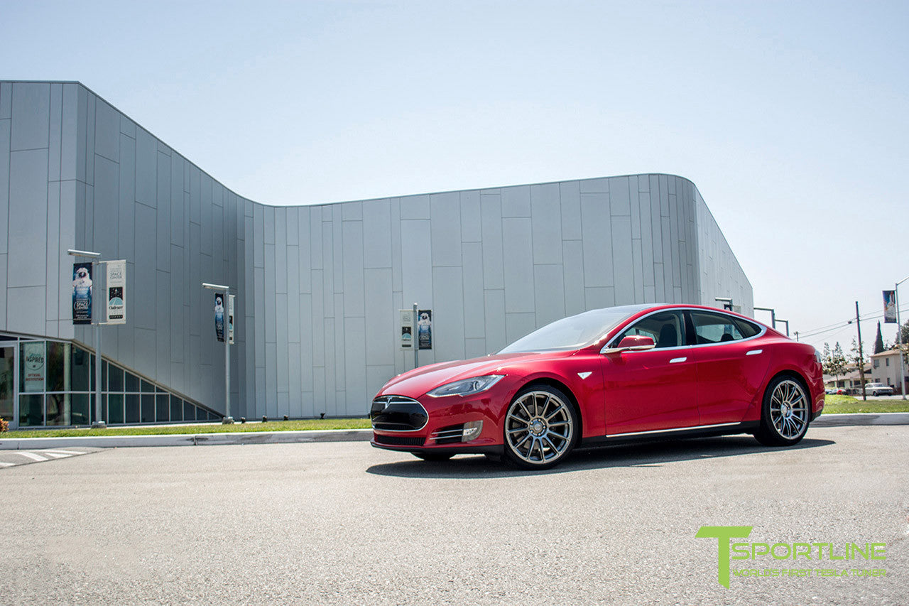 Red Multi-Coat Tesla Model S 1.0 with Hyper Black 21 inch TS112 Forged Wheels 2