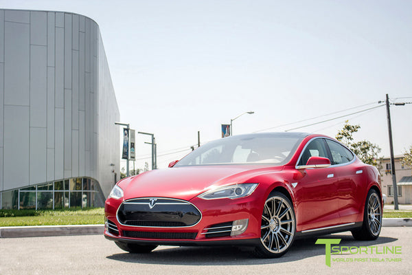 Red Multi-Coat Tesla Model S 1.0 with Hyper Black 21 inch TS112 Forged Wheels 3
