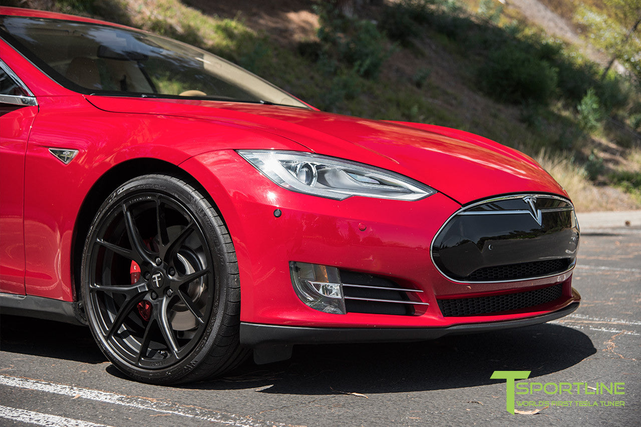 Red Multi-Coat Tesla Model S 1.0 with Matte Black 21 inch TS115 Forged Wheels