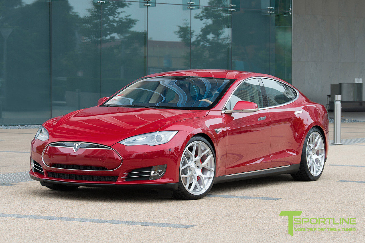 Red Multi-Coat Tesla Model S 1.0 with Brush Satin 21 inch TS117 Forged Wheels 1