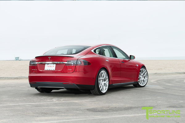 Red Multi-Coat Tesla Model S 1.0 with Brush Satin 21 inch TS117 Forged Wheels 2