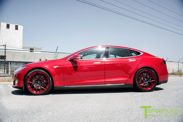 Red Multi-Coat Tesla Model S 1.0 with Imperial Red 21 inch TS117 Forged Wheels 1
