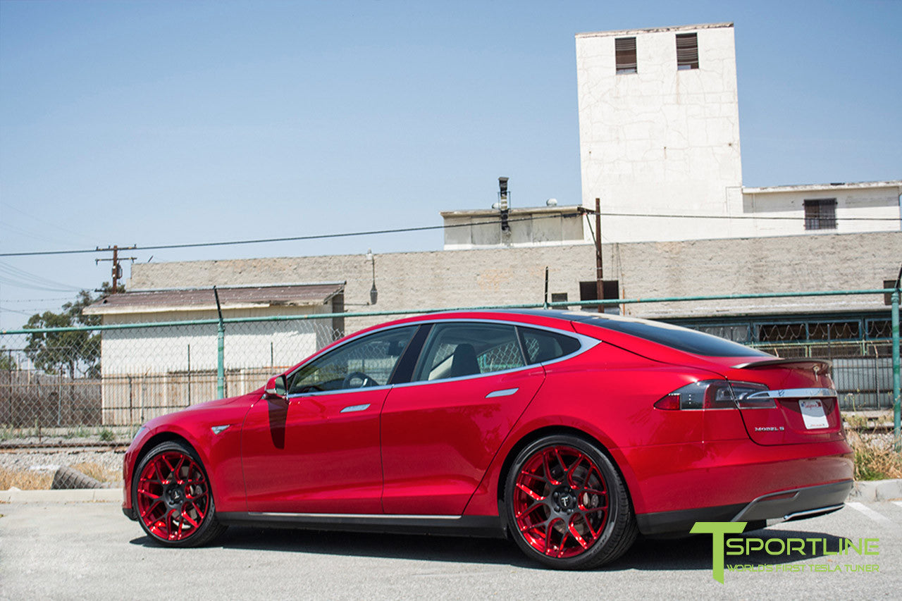 Red Multi-Coat Tesla Model S 1.0 with Imperial Red 21 inch TS117 Forged Wheels