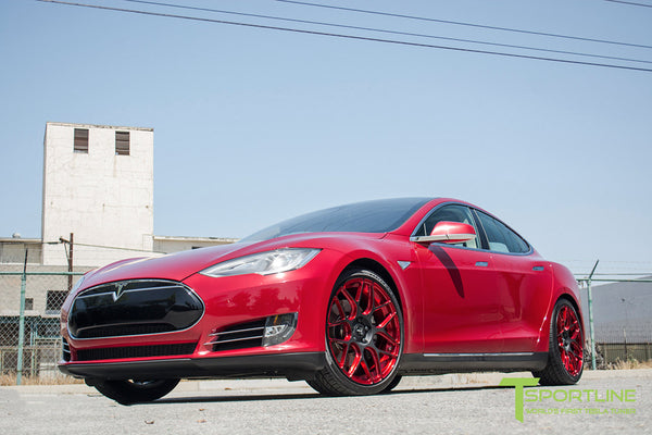 Red Multi-Coat Tesla Model S 1.0 with Imperial Red 21 inch TS117 Forged Wheels 3