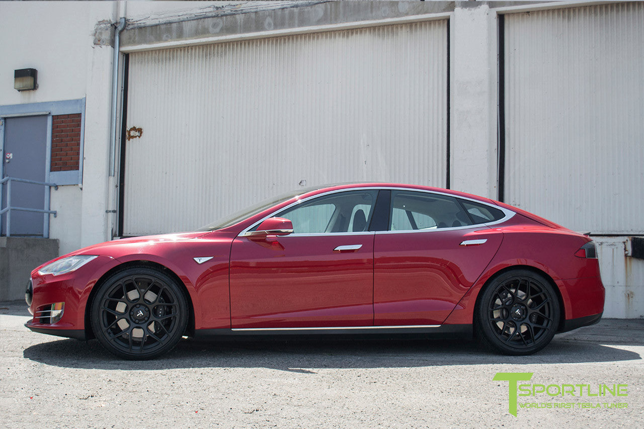 Red Multi-Coat Tesla Model S 1.0 with Matte Black 21 inch TS117 Forged Wheels 1