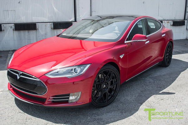 Red Multi-Coat Tesla Model S 1.0 with Matte Black 21 inch TS117 Forged Wheels 3
