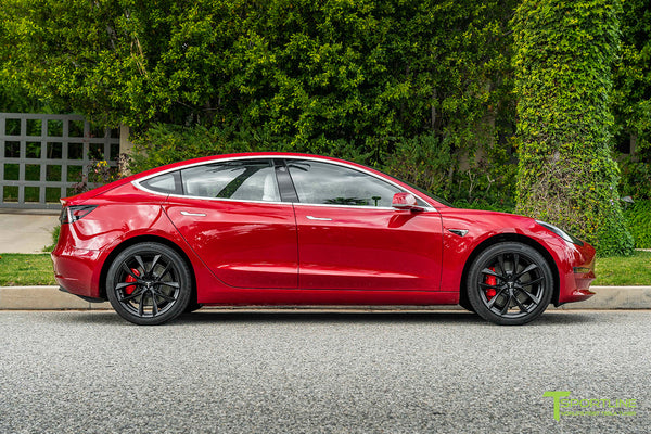 Red Multi-Coat Tesla Model 3 with 19