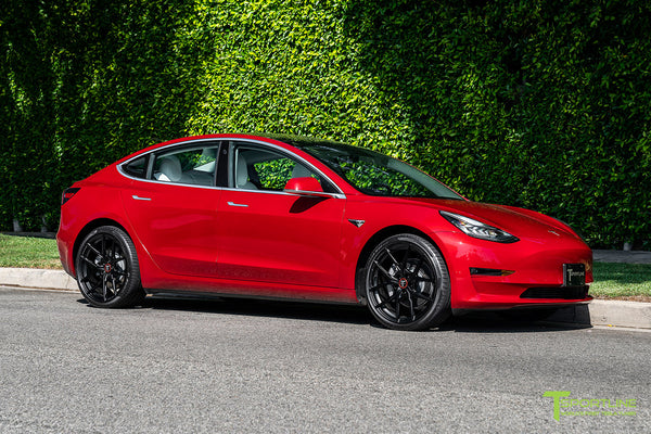 Red Multi-Coat Tesla Model 3 with 20