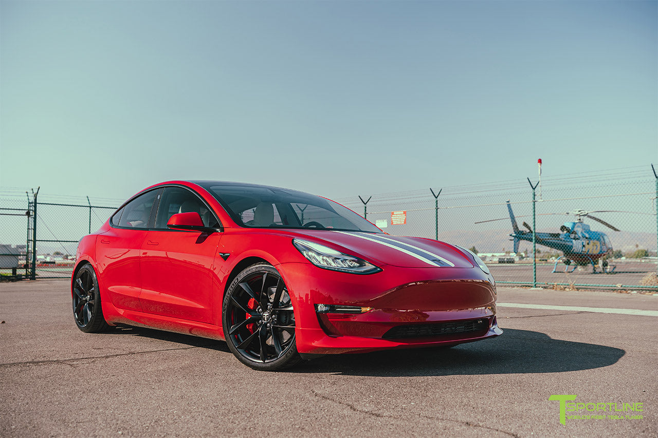 Red Multi-Coat Tesla Model 3 with Carbon Fiber Sport Package in Red Multi-Coat, Matte Black 20 inch TSS Flow Forged Wheels, Premium White Steering Wheel, and Speciale Racing Stripe by T Sportline 1