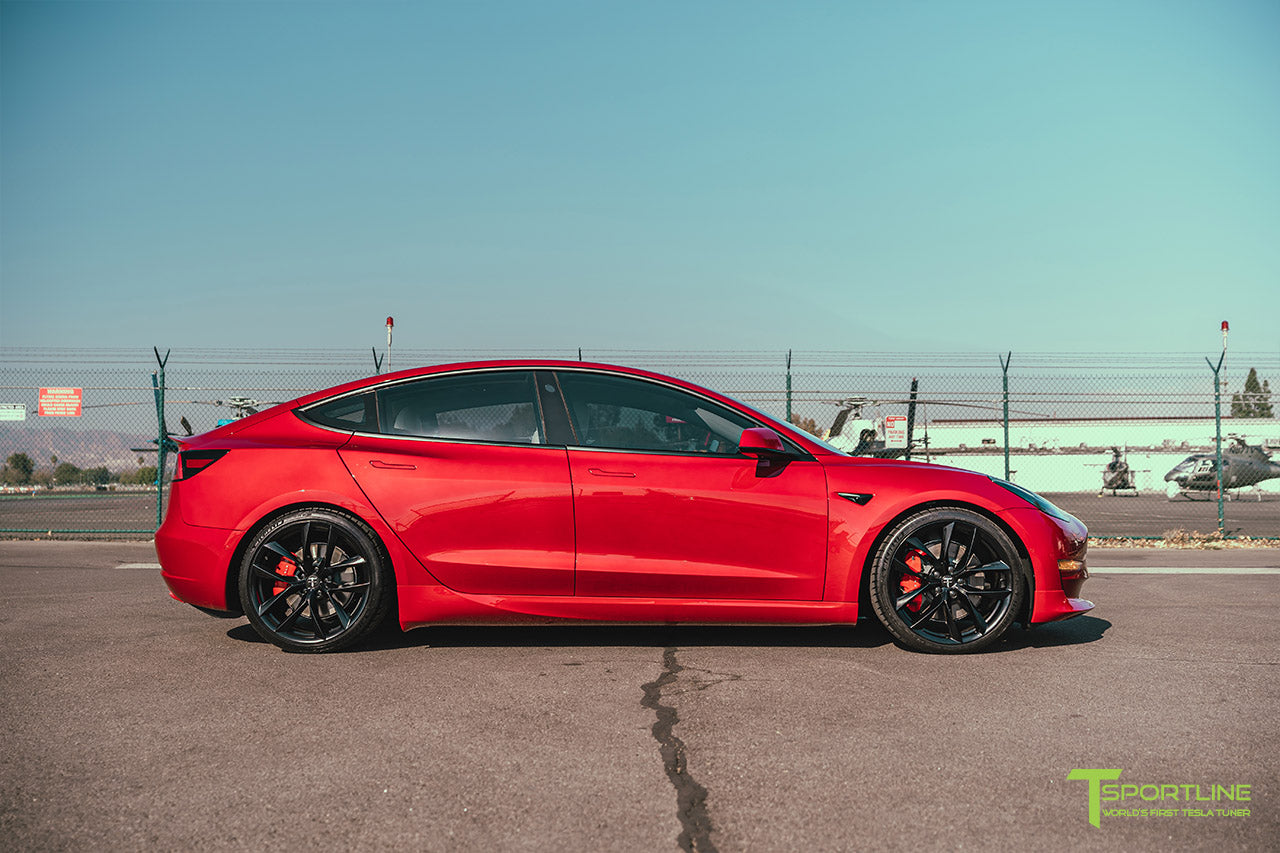 Red Multi-Coat Tesla Model 3 with Carbon Fiber Sport Package in Red Multi-Coat, Matte Black 20 inch TSS Flow Forged Wheels, Premium White Steering Wheel, and Speciale Racing Stripe by T Sportline 2