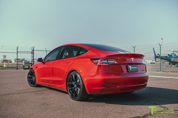 Red Multi-Coat Tesla Model 3 with Carbon Fiber Sport Package in Red Multi-Coat, Matte Black 20 inch TSS Flow Forged Wheels, Premium White Steering Wheel, and Speciale Racing Stripe by T Sportline 3
