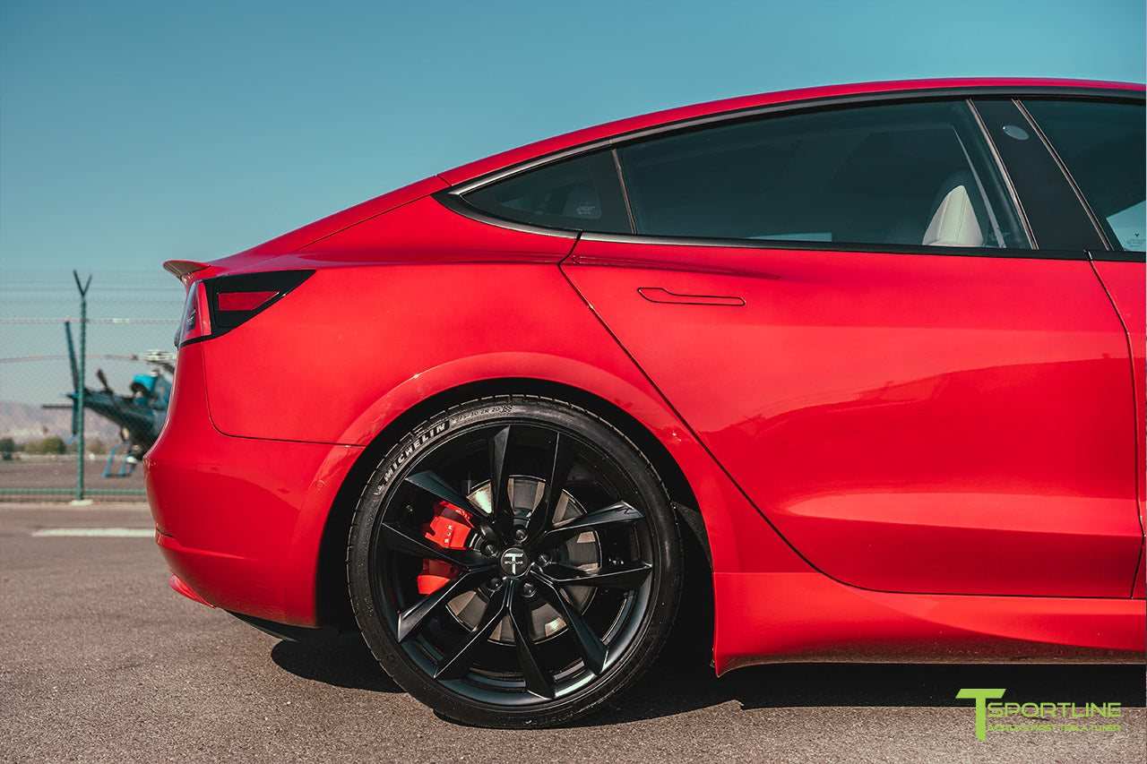 Red Multi-Coat Tesla Model 3 with Carbon Fiber Sport Package in Red Multi-Coat, Matte Black 20 inch TSS Flow Forged Wheels, Premium White Steering Wheel, and Speciale Racing Stripe by T Sportline 5