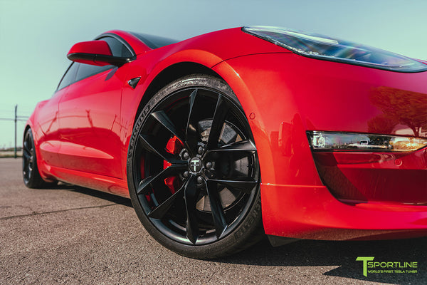 Red Multi-Coat Tesla Model 3 with Carbon Fiber Sport Package in Red Multi-Coat, Matte Black 20 inch TSS Flow Forged Wheels, Premium White Steering Wheel, and Speciale Racing Stripe by T Sportline 6