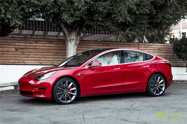 Red Multi-Coat Tesla Model 3 Performance P3D+ with Performance Upgrade Package Option and 20 Inch TST Turbine Style Wheels by T Sportline 4